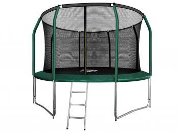 Батут ARLAND премиум 12FT с внутренней страховочной сеткой и лестницей (Dark green)
